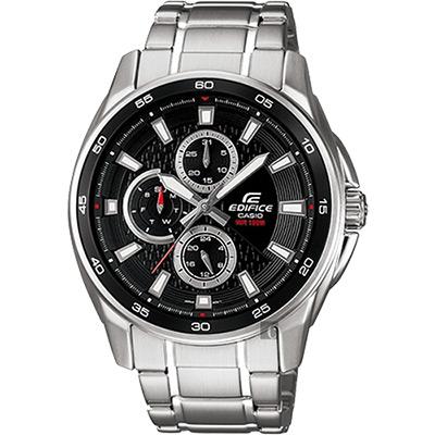 CASIO 卡西歐 EDIFICE 賽車日曆手錶-黑x銀/49mm