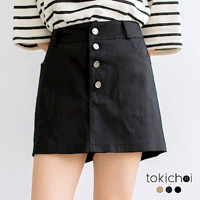 東京著衣 多色休閒甜心排釦褲裙-S.M(共三色)