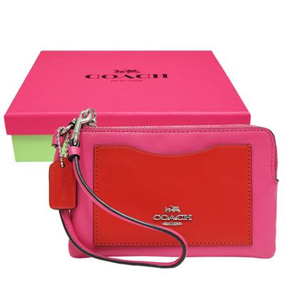 COACH-立體馬車雙色皮革L型手拿包-桃紅-紅色-附原廠禮盒