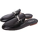 TOD'S Double T 金屬設計牛皮穆勒鞋(女鞋/黑色)