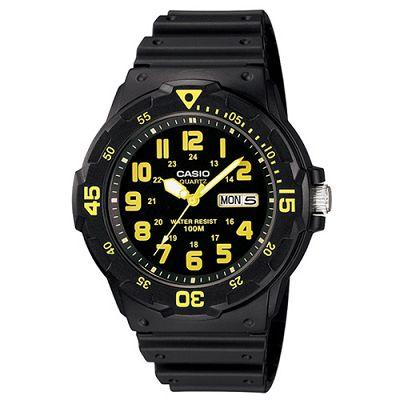 CASIO 潛水風DIVER LOOK指針錶(MRW-200H-9B)-黑/黃刻度/47.9mm