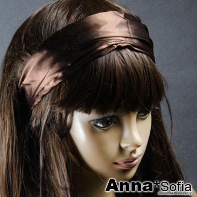 AnnaSofia-緞面皺皺-變幻寬髮帶-醉咖