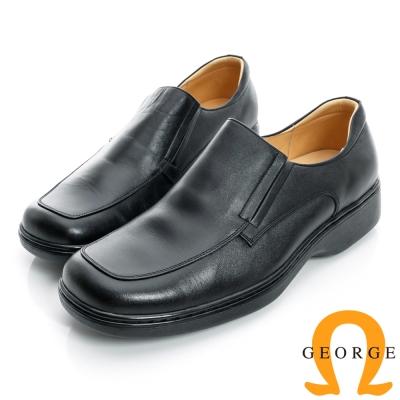 GEORGE-兩側切口免綁帶加厚底真皮方頭鞋-黑色