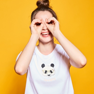 CACO-可愛熊貓短T(兩色)-女