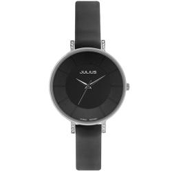 JULIUS聚利時 第一個微笑簡約設計腕錶-黑色/30mm