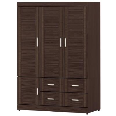 時尚屋 花線胡桃色4x6尺衣櫃