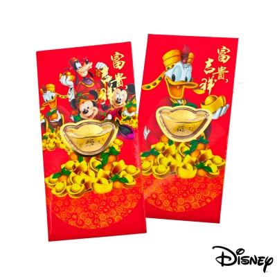 Disney迪士尼系列金飾-黃金元寶紅包袋-迪士尼家族+招財唐老鴨款