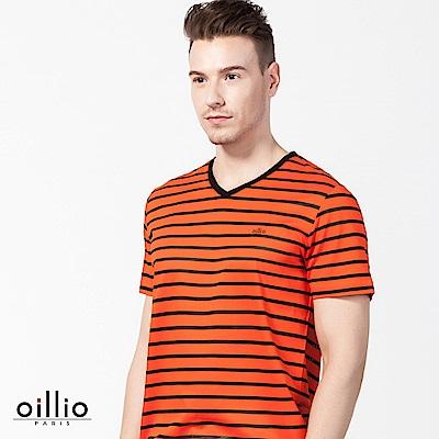 歐洲貴族oillio 短袖T恤 V領款式 質感透氣 橘色