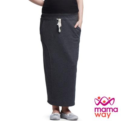 孕婦裙 休閒裙 長裙 孕期舒適百搭後開岔長裙 Mamaway
