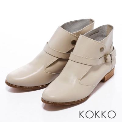 KOKKO-玩酷風潮-真皮率性釘扣環帶真皮短靴