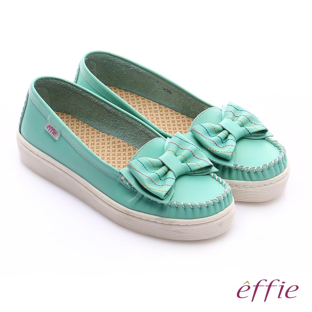 effie 縫線包仔鞋 大蝴蝶結彩色車線奈米休閒鞋 綠色