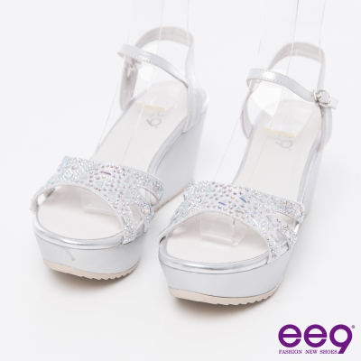 ee9閃耀星光~頂級綿羊皮鑲嵌水鑽璀璨亮麗楔型涼鞋*銀色