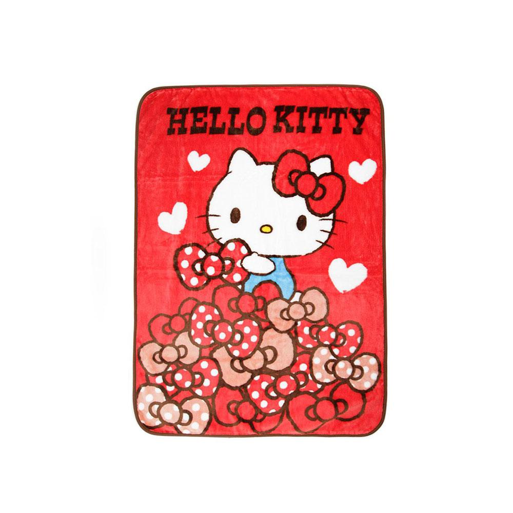 Sanrio HELLO KITTY絨毛薄毛毯M(蝴蝶結)