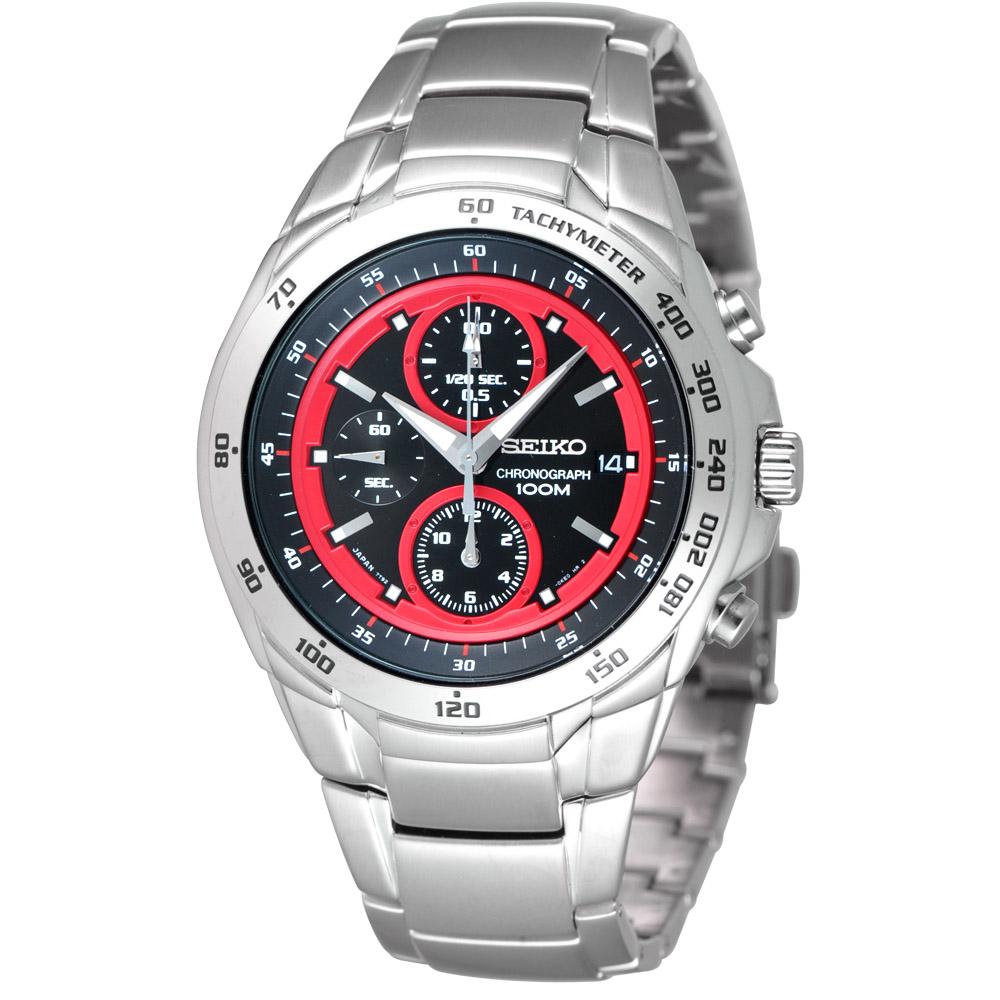 SEIKO 緊急任務三眼計時腕錶-黑/紅