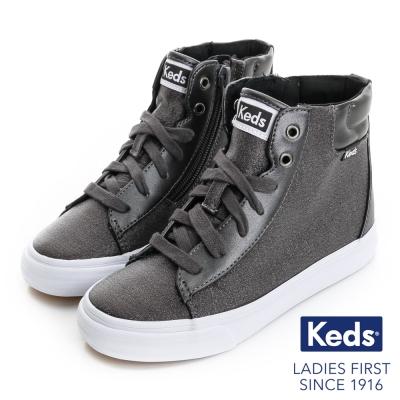 Keds 經典水洗高統綁帶休閒鞋(For Kids)-深灰