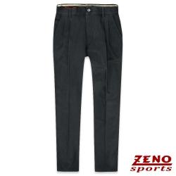 ZENO 保暖刷毛彈性直紋打摺長褲‧暗灰30-42