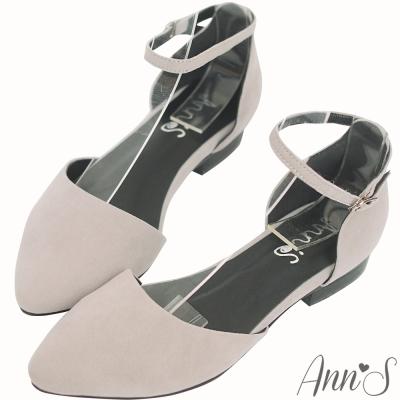 Ann'S從容優雅-弧線素面繫帶尖頭平底鞋-灰