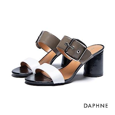 達芙妮DAPHNE 涼拖鞋-撞色大方扣圓柱粗跟一字涼拖鞋-白