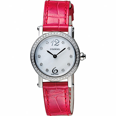 Standel 詩丹麗60週年系列真鑽女錶-珍珠貝x紅/28mm