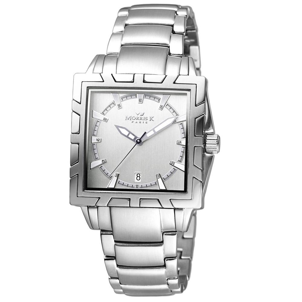 MORRIS K 潮流悍將流行腕錶-銀/35mm