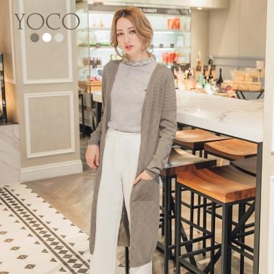 東京著衣-yoco 多色氣質鏤空條紋針織外套-S.M.L(共三色)
