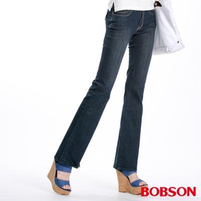 BOBSON 女款中腰伸縮小喇叭褲(藍52)