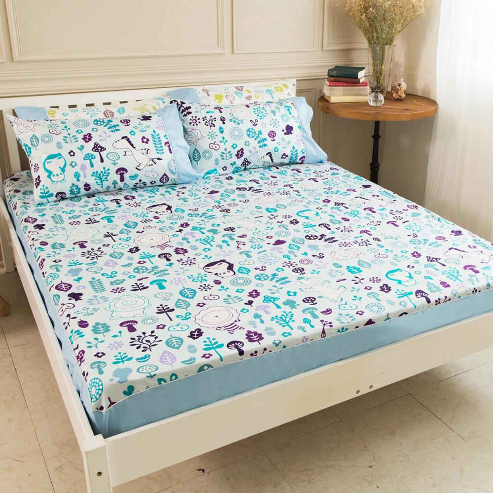 奶油獅-好朋友系列-台灣製造-100%精梳純棉床包兩用被套四件組(水漾藍)-雙人5尺