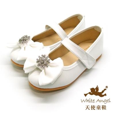天使童鞋 JU773 典雅花鑽大蝴蝶結公主鞋 婚禮白