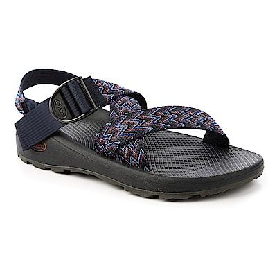 美國Chaco男越野舒壓運動涼鞋寬織帶標準款CH-ZLM03HE01-藍色艦隊