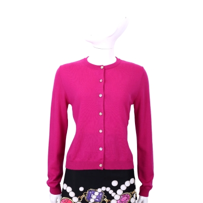 BOUTIQUE MOSCHINO 桃紅色彩鑽釦飾羊毛外套
