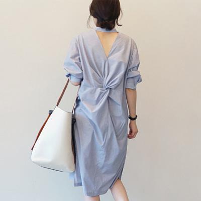 條紋摺皺露背寬鬆襯衫洋裝 (條紋)-Kugi Girl