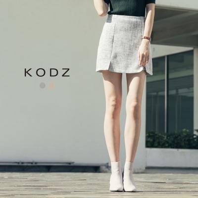東京著衣-KODZ 都會知性織紋側開岔短裙-S.M.L(共二色)