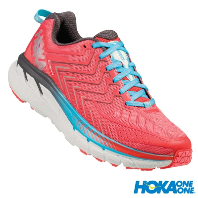 HOKA ONE ONE 跑鞋 Clifton 4 女 路跑 超緩震 石榴紅