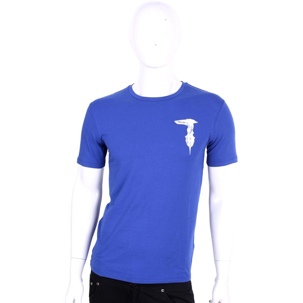 TRUSSARDI-JEANS 藍色品牌字母棉質短袖T恤
