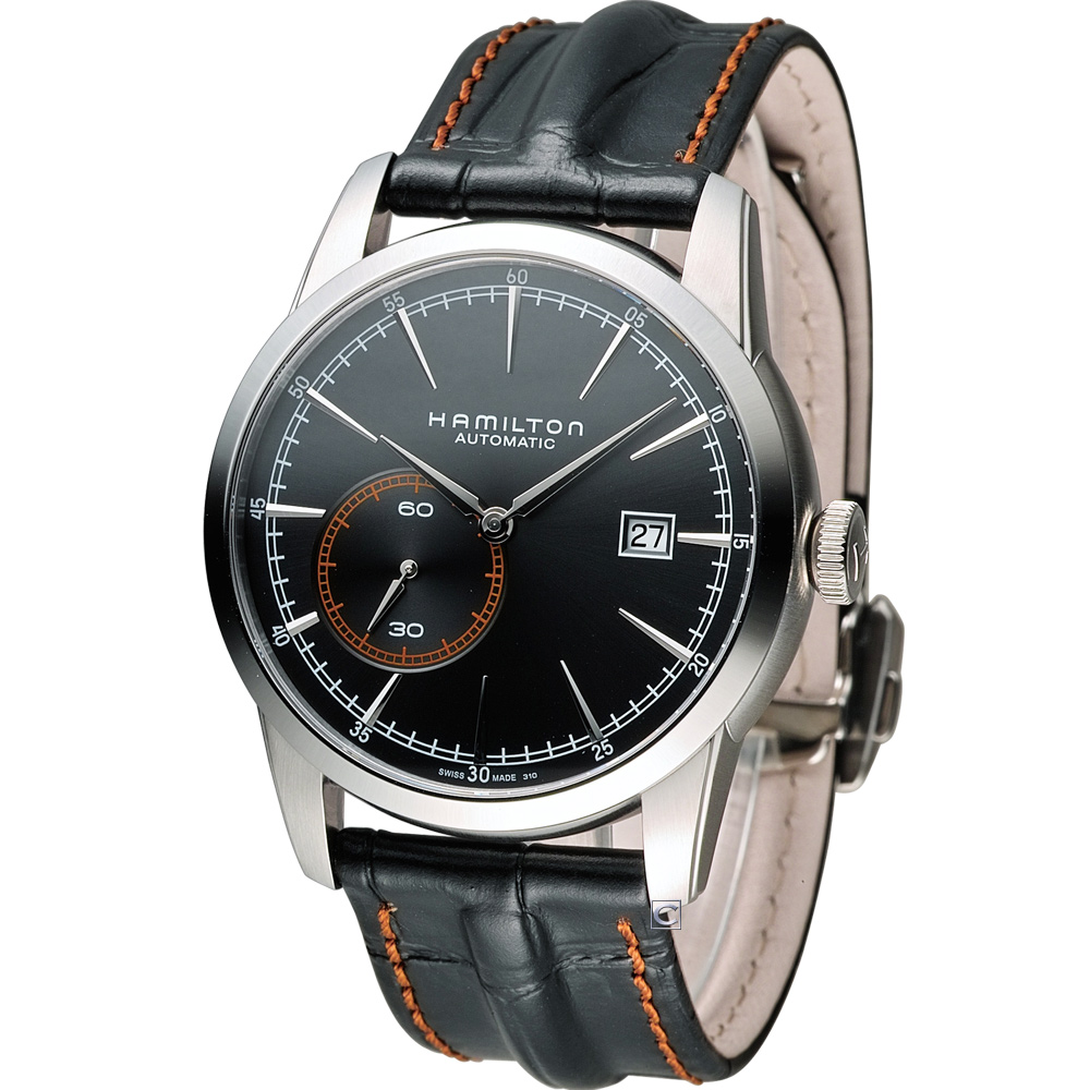 Hamilton RailRoad系列偏心小秒盤機械錶-黑x皮帶款/42mm