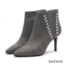 達芙妮DAPHNE 踝靴-撞色細繩編織高跟尖頭踝靴-灰