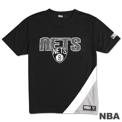 NBA-布魯克林籃網隊舒適運動短袖上衣-黑(男)