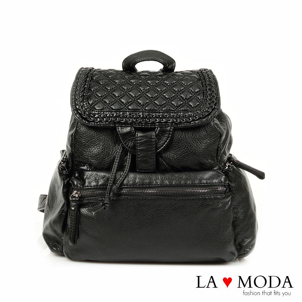 La Moda 韓妞街頭風格系列   經典菱格紋藤編設計款(黑)