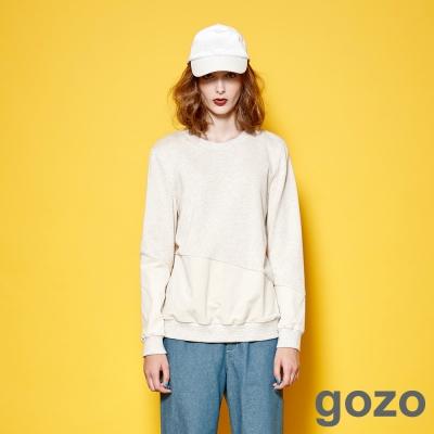 gozo 個性影像拼接異材質色塊上衣 (二色)
