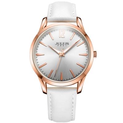 JULIUS 聚利時 微星綻耀彎針設計皮帶腕錶-清新白/39mm