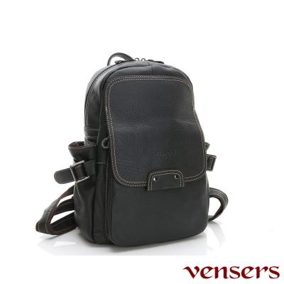 vensers小牛皮潮流個性包~後背包(N 30201 黑色)