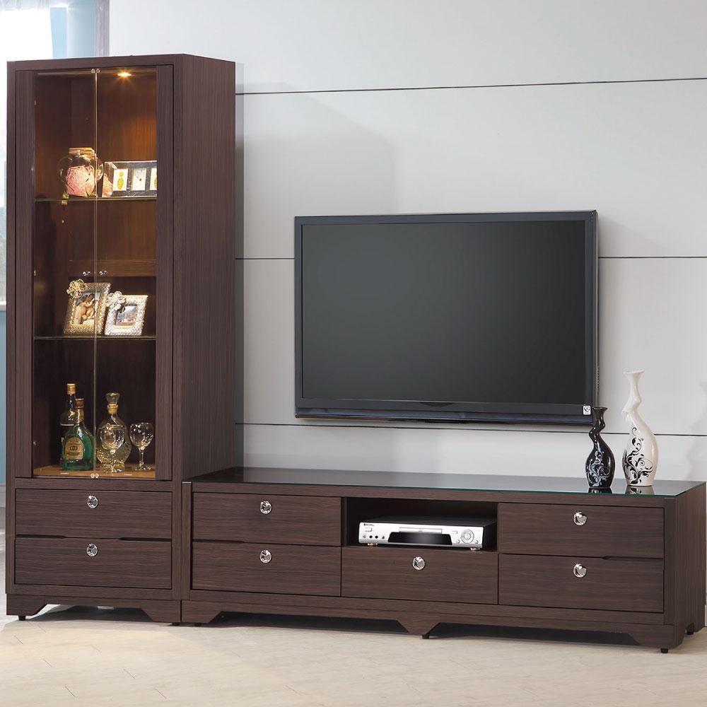 品家居 和風日式7.7尺(展示櫃+電視櫃)-230.5x40x189.5cm-免組