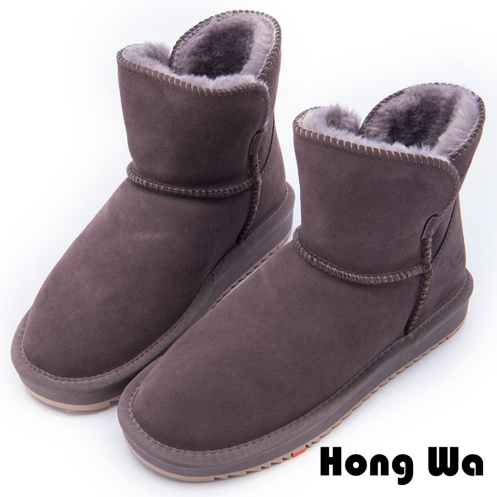 2.Maa - 日系風格牛麂皮素面雪靴 - 棕