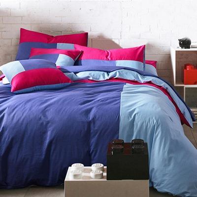 美夢元素 磨毛-被套床包組-溫情藍調 加大