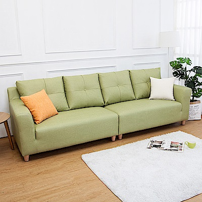 Boden-班森四人座綠色貓抓布紋皮沙發(送抱枕)