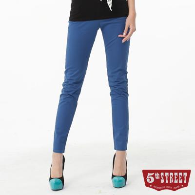 5th STREET 取線基本亮彩窄直筒色褲-女-灰藍