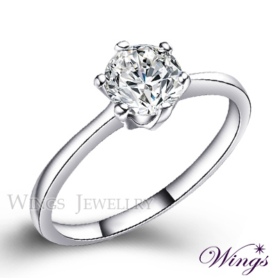 Wings 經典六爪鑲 八心八箭方晶鋯石美鑽戒指