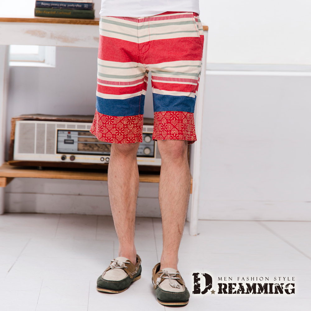 Dreamming 渡假風幾何多彩織條棉質休閒短褲-共二色 (紅色)