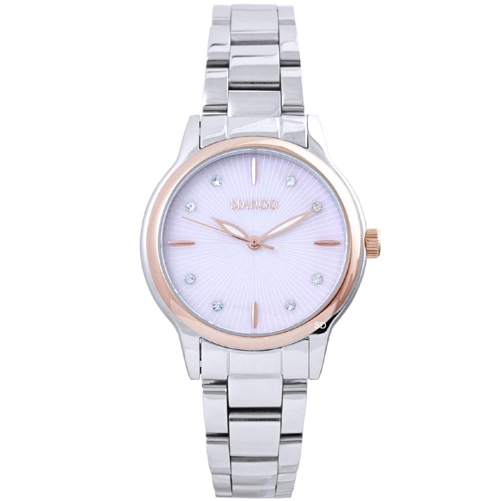 MANGO 璀璨晶鑽時尚手錶-粉X玫瑰金框/32mm