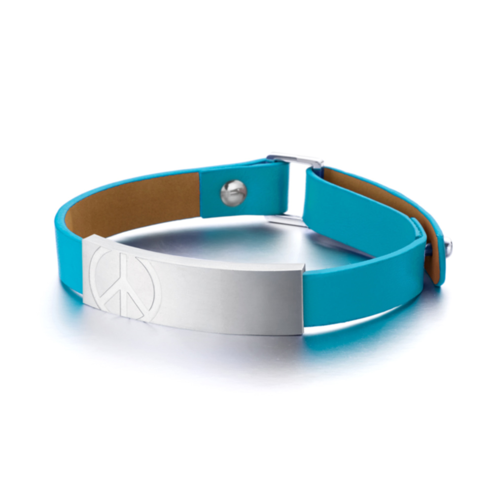 &MORE愛迪莫 Peace皮革鍺手環(女款)時尚藍